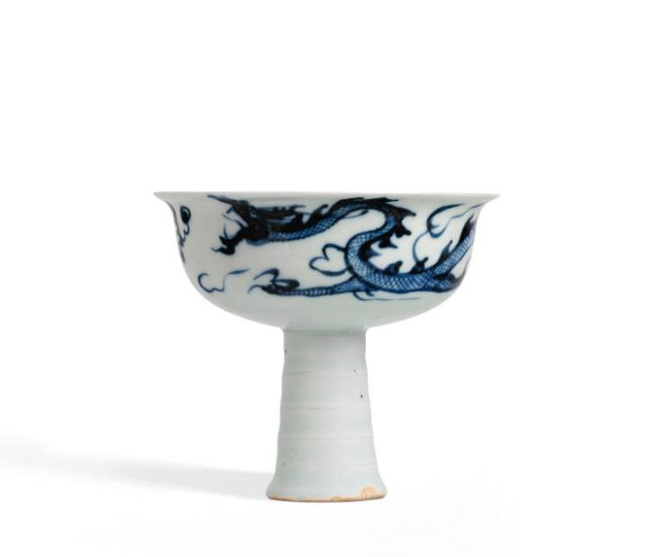 "A Fine And Rare Blue And White Moulded ""Dragon"" Stemcup, Yuan Dynasty, Early-Mid 14th Century"