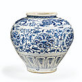 A rare blue and white glazed stoneware peony' storage jar, Vietnam, 15th century
