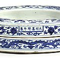 A rare large blue and white ring-shaped box and cover, mark and period of jiajing (1522-1566)