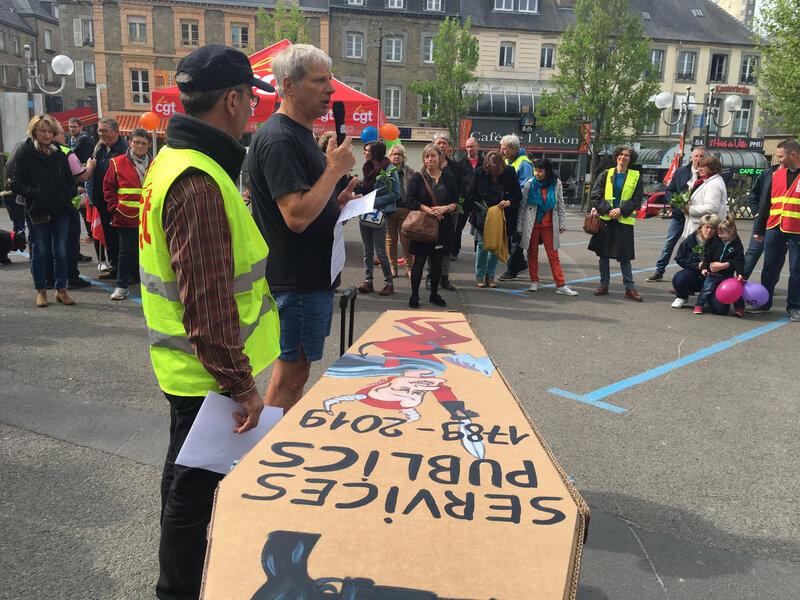 Avranches_1er mai_2019_rassemblement_syndicat_prise de parole_Bernard Daragon_Jean-Paul Rousselot_CGT
