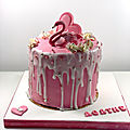 Mon drip cake flamant rose
