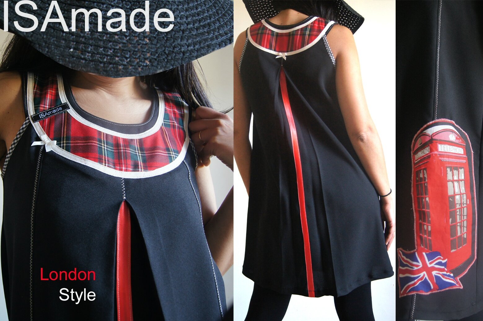 Robe Trapèze Chasuble Noire/ Rouge London Style 60's