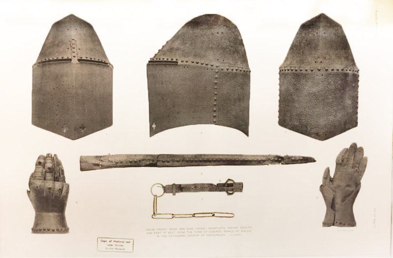 Helm, shield, gauntlets, and scabbard of Edward the Black Prince (1330-1376)