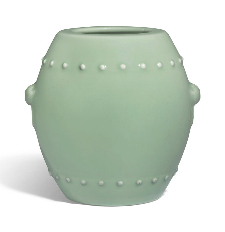 A celadon-glazed barrel-form vase, Qianlong six-character seal mark in underglaze blue and of the period (1736-1795)