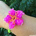 Rainbow loom flowers-bracelets elastiques fleurs