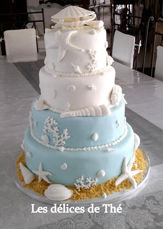 Wedding cake génoise ganaches 3 chocolats Théme Coquillages Mariage Domi Eric 28 04 18 (58)