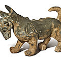 A painted gray pottery figure of a mythical beast, han dynasty (206 bc-ad 220)
