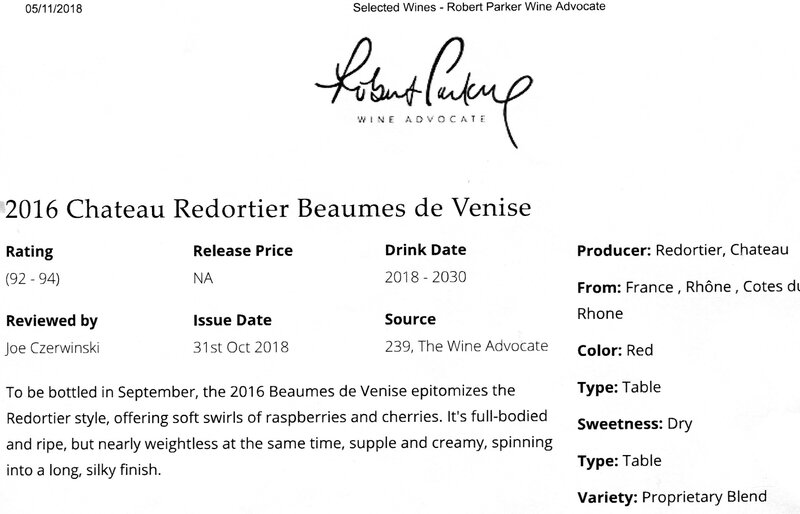 Wine Advocate 2018 Beaumes 2016