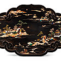 A hardstone-inlaid brown lacquer plaque, qing dynasty, 19th century