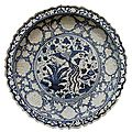 Foliate Rim Charger, porcelain painted in underglaze blue with phoenix, China, Yuan dynasty, mid 14th century. National Museum of Iran.