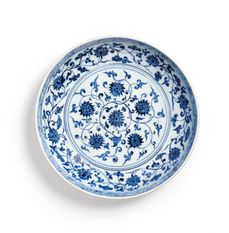 A Blue and White 'Lotus' Dish, Ming Dynasty, Yongle Period (1403-1424)