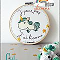 Décoration Murale Enfant - Broderie - Tambour Brodé - Licorne - DMC - Fait main - Made in France - Little Curiosité (1)