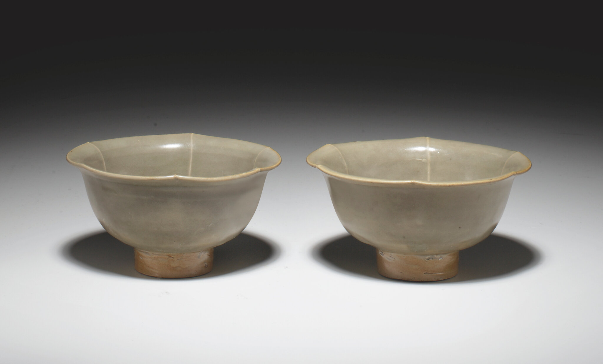 A pair of Yaozhou celadon flower-form bowls, Northern Song dynasty, 11th century