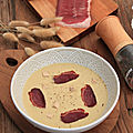 Veloute d'artichauts foie gras et chips de magret d'oie