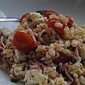 Salade de blé, jambon blanc, tomates et feta