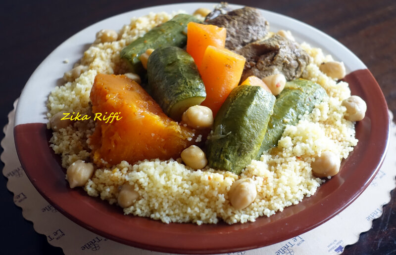 couscous boeuf, courge courgette carottes