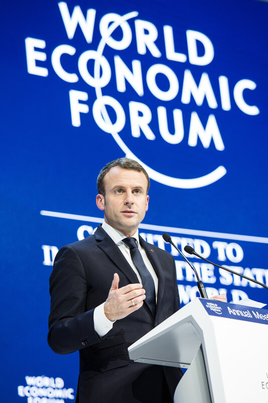 Emmanuel Macron au Forum économique mondial, Davos 24 janvier 2018 (auteur:author Foundations World Economic Forum