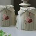 Cottage et Patine abat-jour réf 1 coton fleurs et rayures