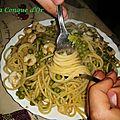Spaghetti aux crevettes et petits pois, recette de mon fils