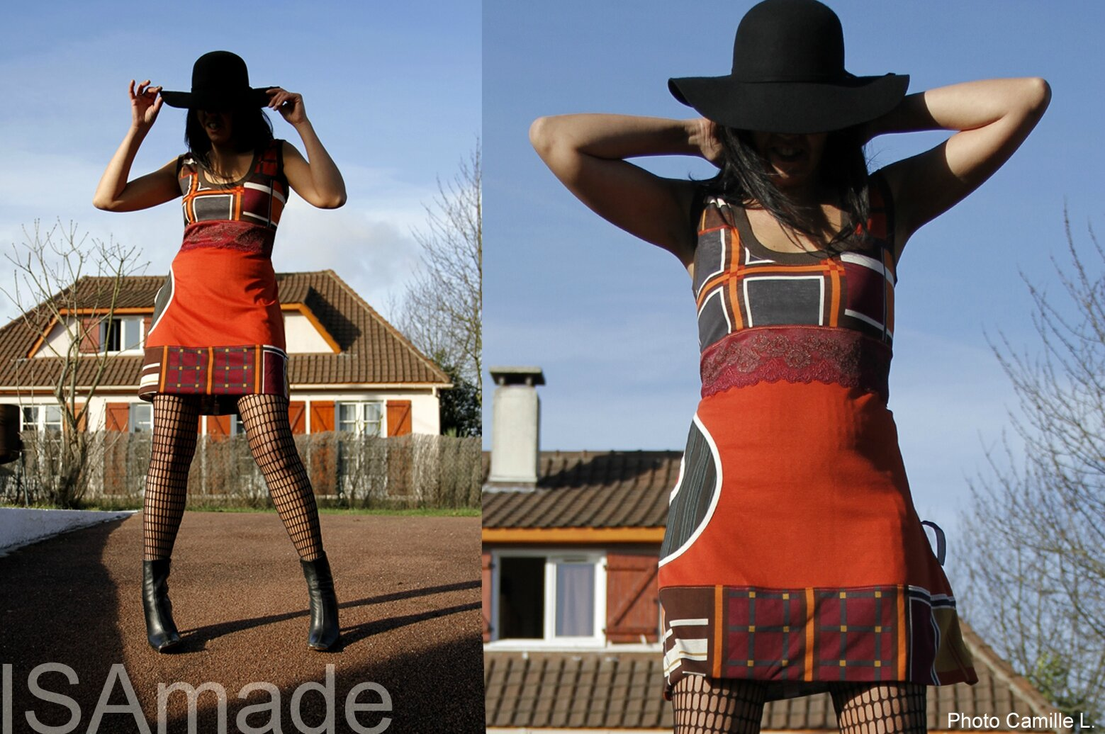 Robe trapèze de style Graphique Sixties Orange/marron/bordeaux