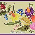 Plateau Bois peint Couronne fleurs et fruits 34x26x5cms 3