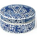 A rare blue and white 'Phoenix' circular box and cover, Mark and period of Wanli