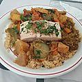 Couscous de saumon et calamar aux légumes et aux épices