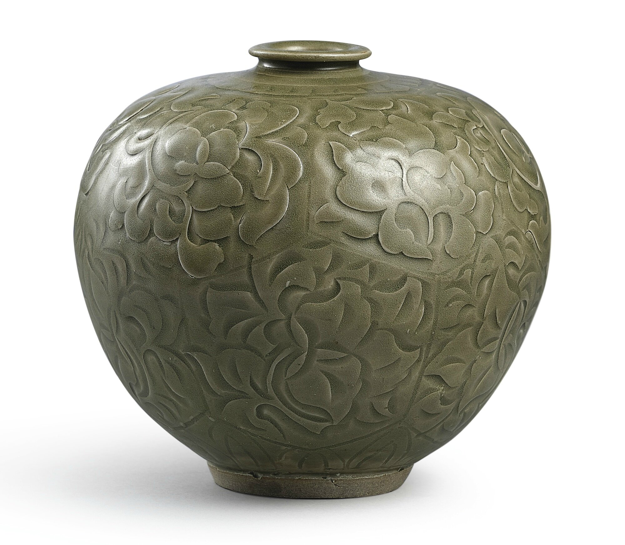 An extremely rare 'Yaozhou' celadon carved 'floral' vase, Northern Song dynasty