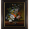 Rachel ruysch, still life with flowers in a vase on a ledge with a dragonfly, caterpillar, and butterfly