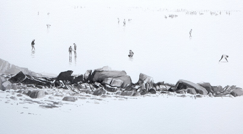 peche à pied au men du carnac, encre de chine, 50 x 30 cm, décembre 2020