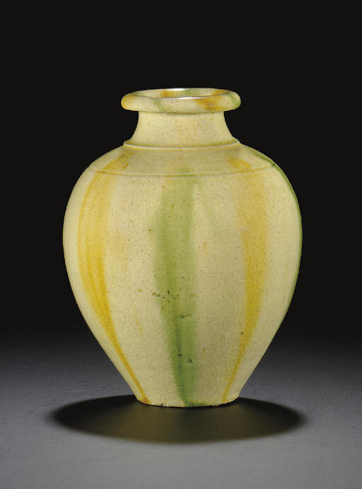 An unusual small sancai-glazed baluster vase, 6th-7th century