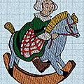 Broderie machine : bécassine sur son cheval à bascule