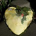372 coussin de Noël en soie peinte à la main jaune et vert