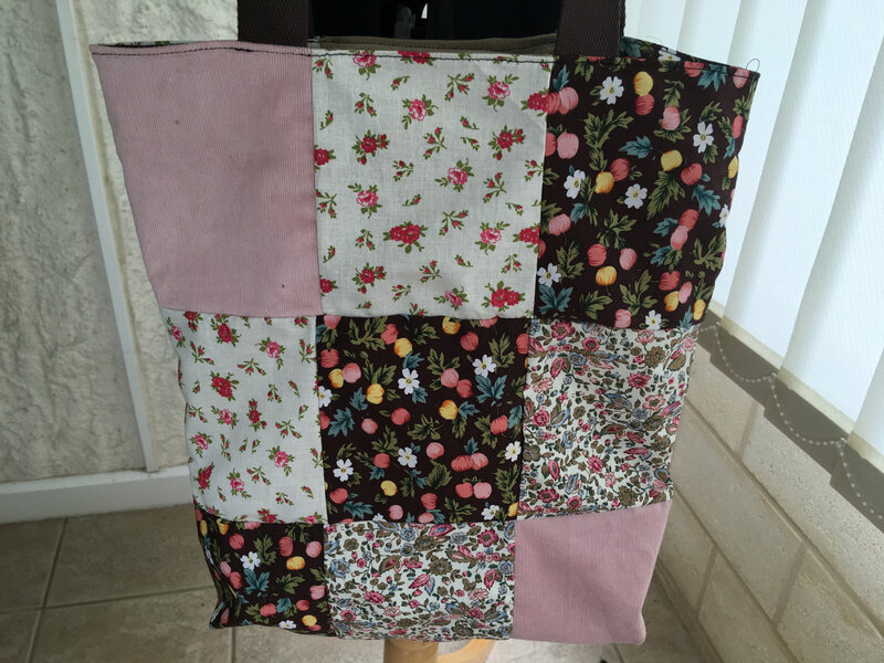 tote bag reversible patchwork tons brun rose modele funky sunday 2