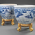 A pair of large blue and white jardinières, 18th century