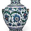 An impressive iznik-style pottery vase, ulisse cantagalli, florence, italy, late 19th century