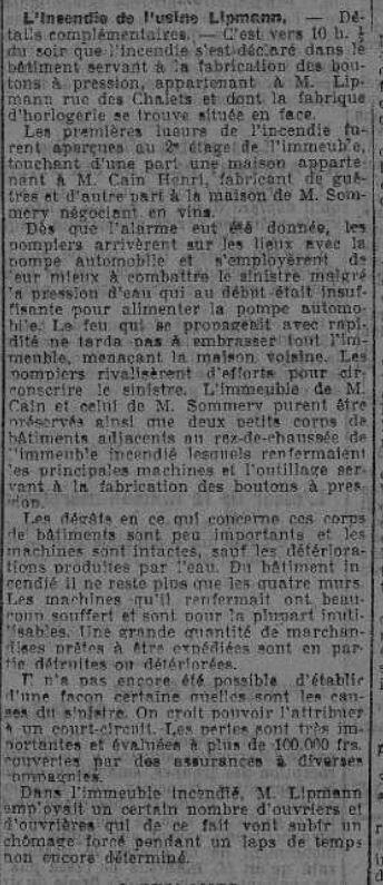 incendie Lipman 24 11 1918 Eclair Comtois