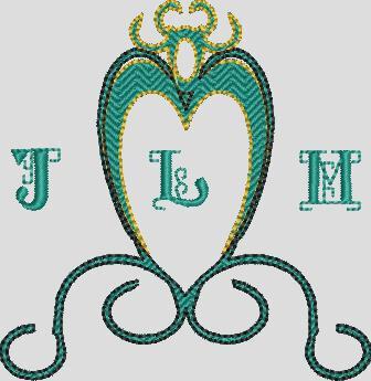 Le modèle armoirie permet d' y insérer le nom du couple , en 3 lettres*
