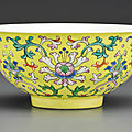 A fine famille rose yellow-ground bowl, qianlong seal mark in underglaze blue and of the period (1736-1795)