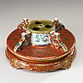 An iron-red and gilt-decorated doucai hat stand base, qianlong seal mark and period (1736-1795)