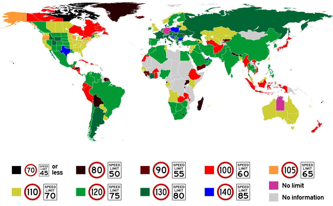 speed limit worlwide limite de vitesse dans le monde