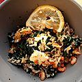 Riz aux épinards, crevettes et feta