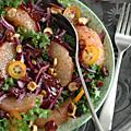Salade de chou kale, chou rouge, pamplemousse, kumquat, noisettes & canneberges