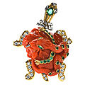 Cartier paris. superb carved coral diamond and emerald turtle pin. france, 1950c