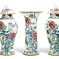 A three-piece famille-rose garniture. qing dynasty, 18th century