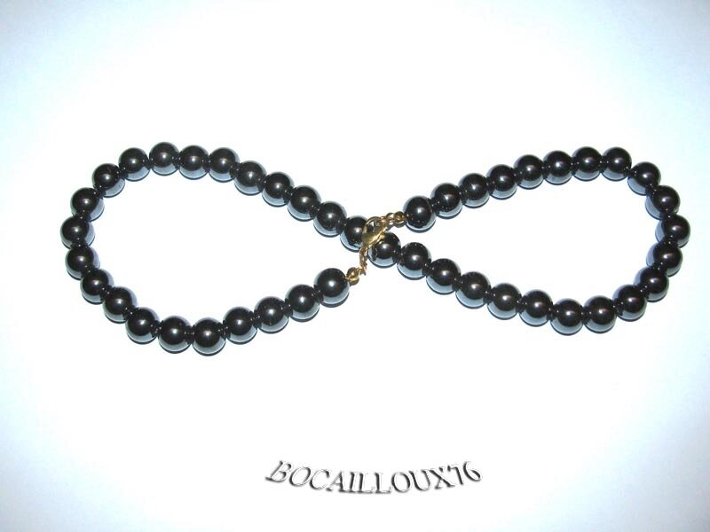 Collier HEMATITE 6 Perles 10mm (3)