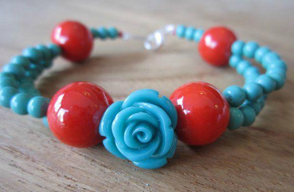 Bracelet rose turquoise et rouge orangé