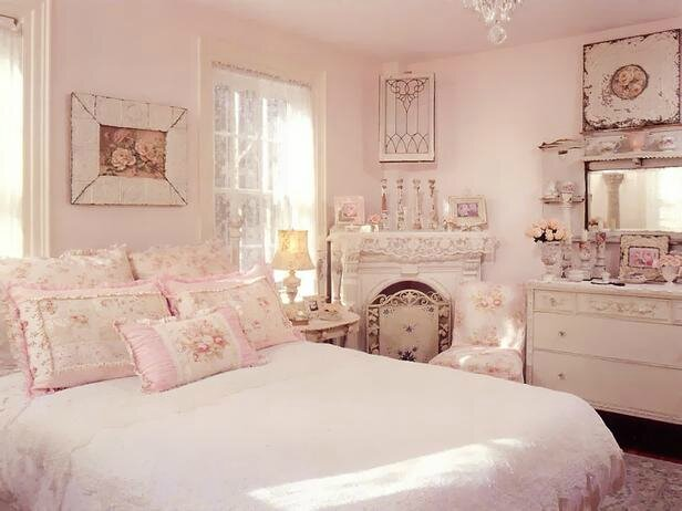 Shabby-Chic-Pink-Bedroom-with-Chandelier-Cabinet-and-Mirror