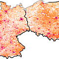 Population Density Map of Germany and Poland