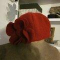 Chapeau AGATHE en laine bouillie rouge (3)